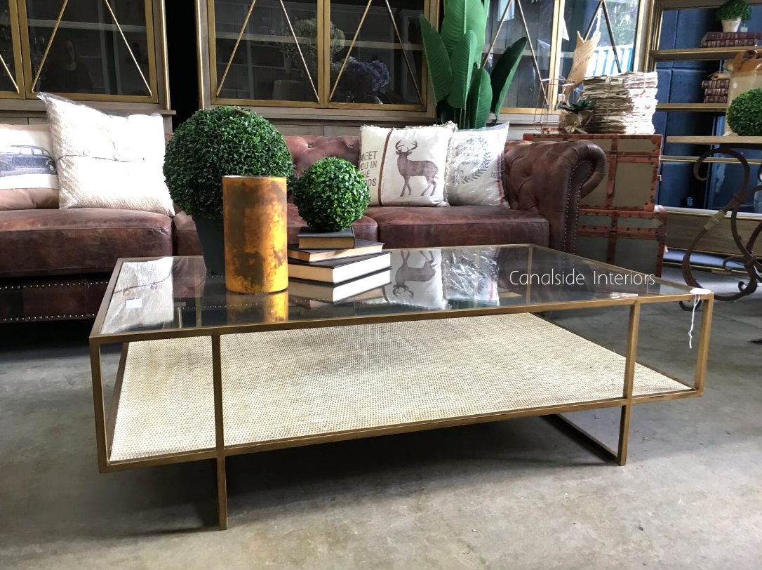Wickford Glass & Rattan Coffee Table