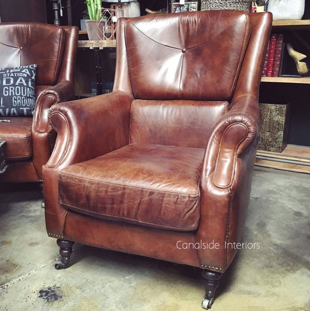 Eton Aged Leather Wingback Chair