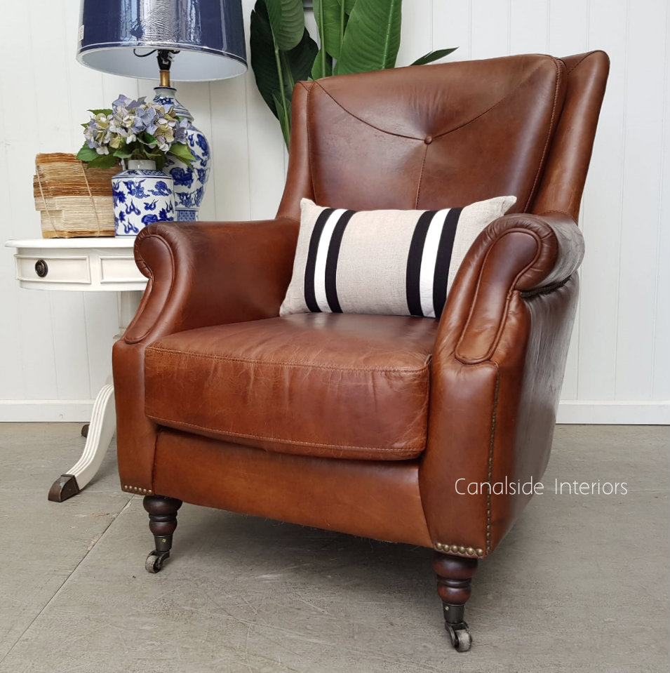 Eton Aged Leather Wingback