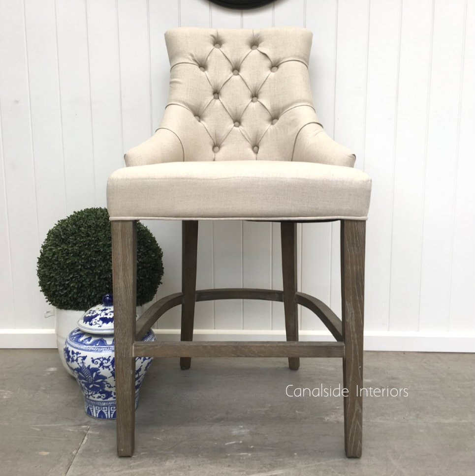 Dashwood Upholstered Buttoned Back Bar Stool Weathered Oak  FRENCH  FURNITURE, CHAIRS, HAMPTONS Style, PLANTATION Style, CHAIRS Dining, CHAIRS Stools