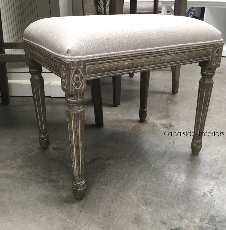 Caylee Ottoman Weathered Oak  FRENCH  FURNITURE, BEDROOM, CHAIRS, CHAIRS Stools, LIVING Room, BEDROOM Headboards & Ottomans