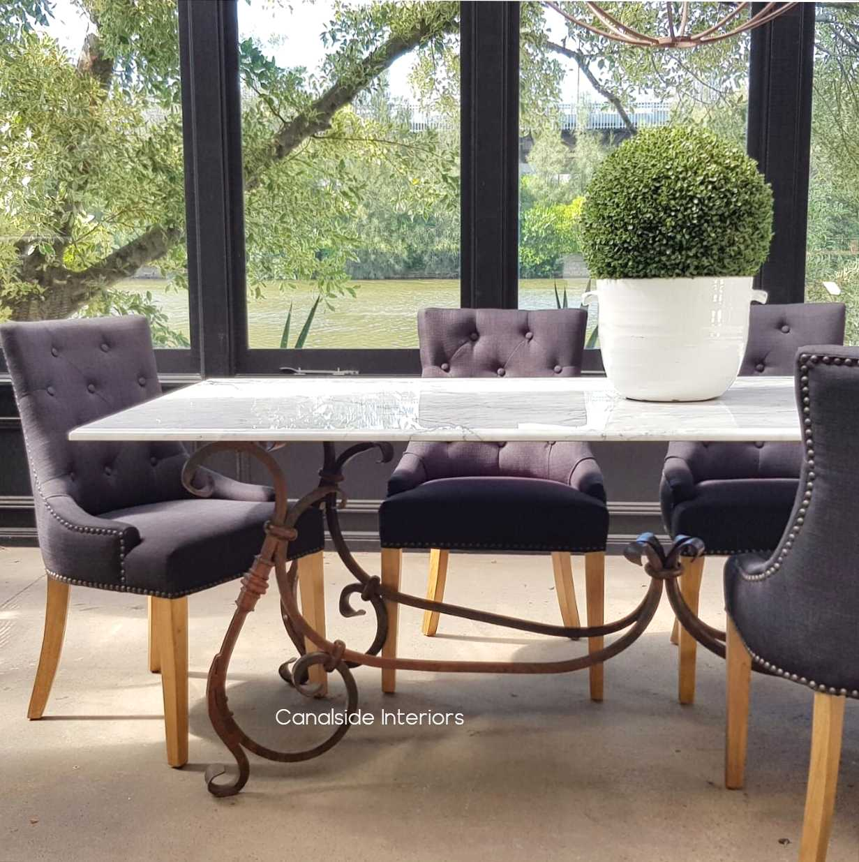 Peralta Dining Table with Carrara Marble Top Canalside Interiors