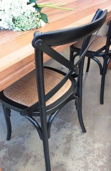 Cross Back Chair Black  Dining, CHAIRS, CAFE FURNITURE, HAMPTONS Style, PLANTATION Style, CHAIRS Dining, CAFE FURNITURE Stools & Chairs
