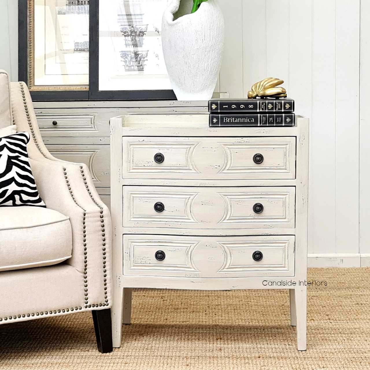 Isobel Bedside Grey With Antique Mirror Top Canalside Interiors