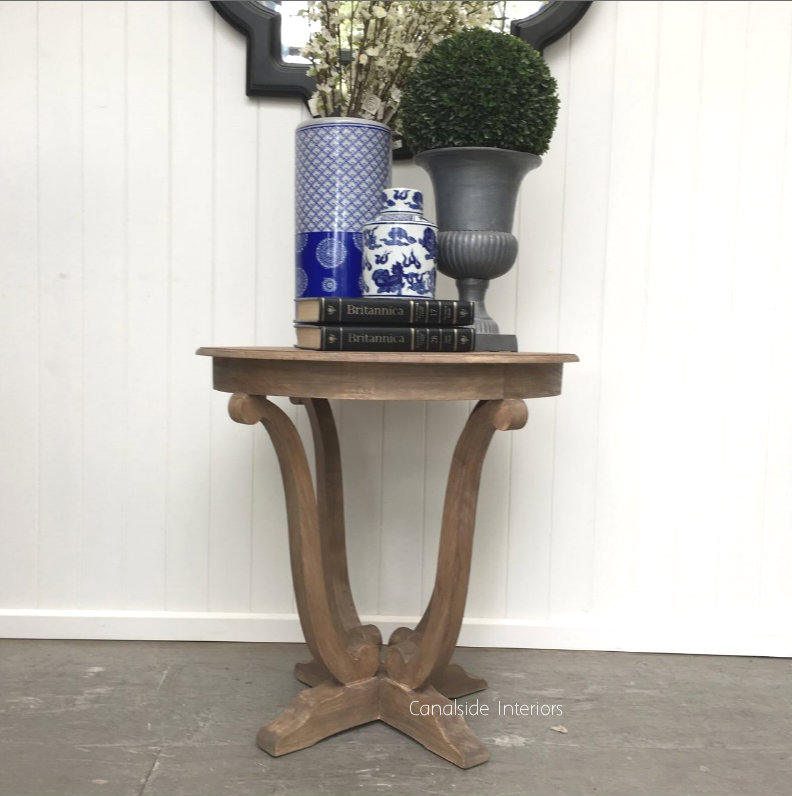 Downton Round Hall Table Side Table Weathered Oak  FRENCH  FURNITURE, TABLES, HAMPTONS Style, PLANTATION Style, TABLES Side Tables, LIVING Room, LIVING Coffee & Side Tables, PLANTATION STYLE