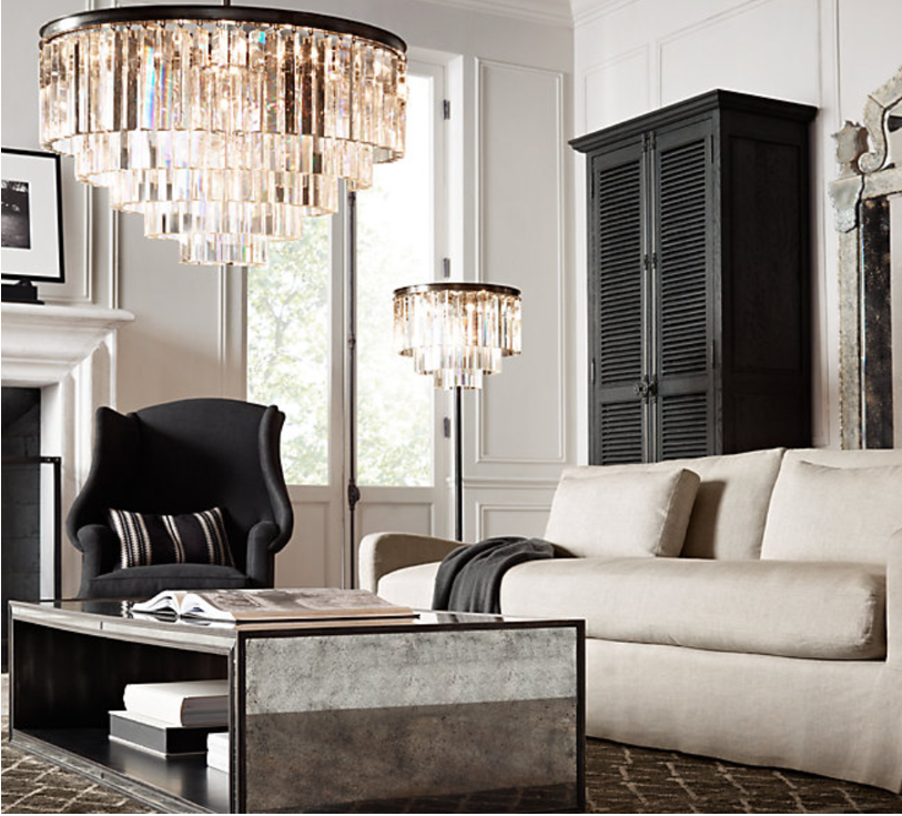 Get The Look: Inspiration Image via Restoration Hardware on Pinterest *Odeon Chandelier may vary to inspiration image