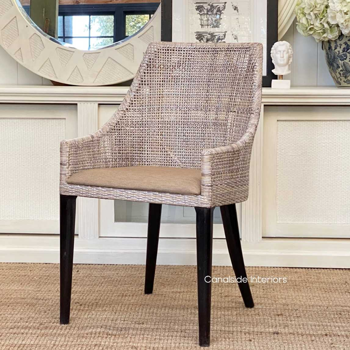 Wickham Dining Chairs Greywash with upholstered seat  CHAIRS, HAMPTONS Style, PLANTATION Style, CHAIRS Dining, PLANTATION STYLE