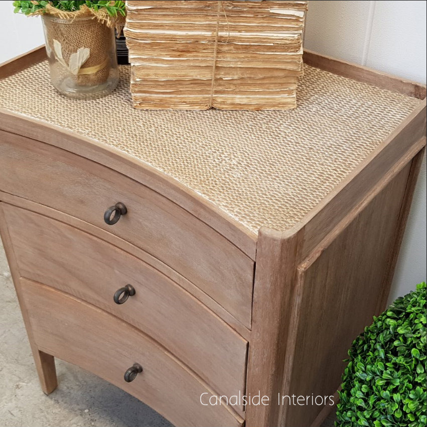 Tweed Hill Rattan Concave Bedside Weathered Oak w Rattan  BEDROOM, TABLES Side Tables, LIVING Coffee & Side Tables, BEDROOM Bedsides, PLANTATION STYLE