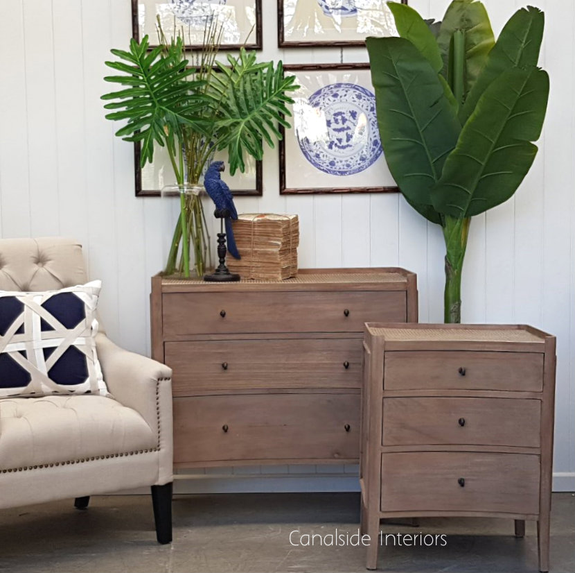 Tweed Hill Rattan Concave Chest Weathered Oak w Rattan  BEDROOM, BEDROOM Chests & Commodes, STORAGE, STORAGE Sideboards & Buffets, PLANTATION STYLE