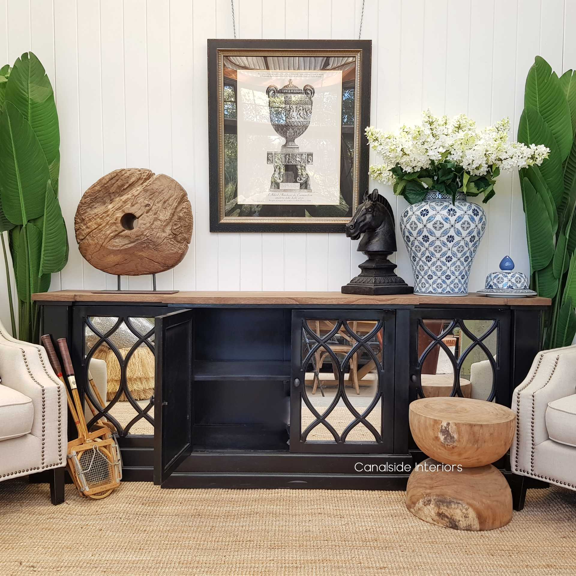 Marielle Mirrored Sideboard Charcoalblack Canalside Interiors