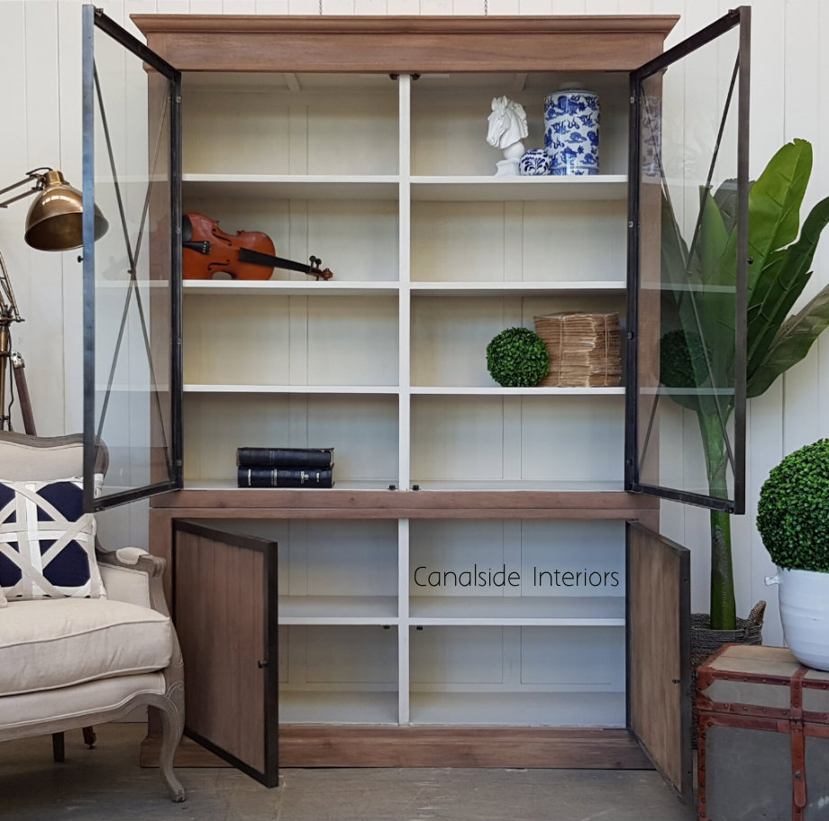 Atticus Display Wall Unit Weathered Oak with White Interior  INDUSTRIAL RUSTIC Style, HAMPTONS Style, PLANTATION Style, LIVING Room, LIVING TV Media & Storage, LIVING Cupboards & Bookcases, STORAGE, STORAGE Bookshelves & Cupboards, PLANTATION STYLE