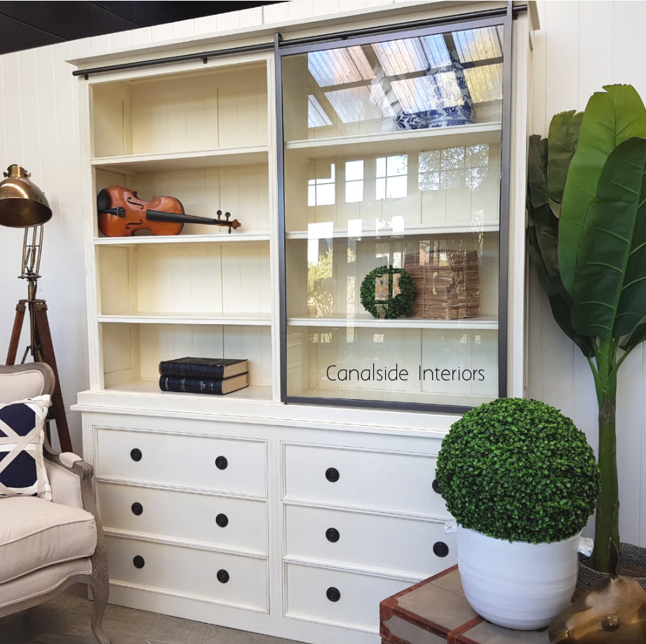 Pemberley Sliding Door Display Wall Unit Distressed off white  HAMPTONS Style, PLANTATION Style, LIVING Room, LIVING TV Media & Storage, LIVING Cupboards & Bookcases, STORAGE, STORAGE Bookshelves & Cupboards, PLANTATION STYLE