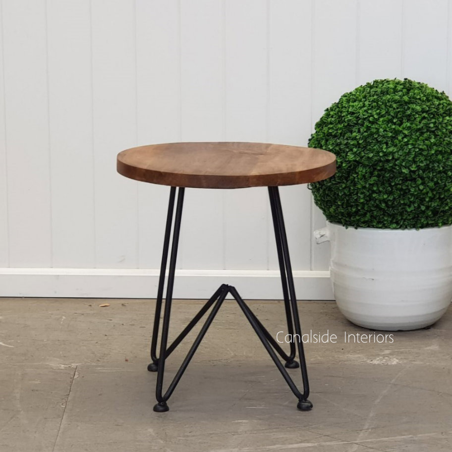 Camilla Low Stool Side Table Distressed Black  INDUSTRIAL RUSTIC Style, CHAIRS, CAFE FURNITURE, TABLES, CHAIRS Stools, TABLES Side Tables, LIVING Coffee & Side Tables, CAFE FURNITURE Stools & Chairs, PLANTATION STYLE