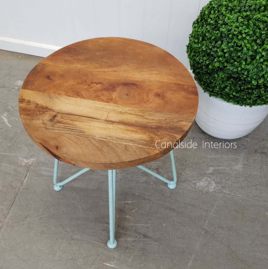 Camilla Low Stool Side Table Distressed Mint  INDUSTRIAL RUSTIC Style, CHAIRS, CAFE FURNITURE, TABLES, CHAIRS Stools, TABLES Side Tables, LIVING Coffee & Side Tables, CAFE FURNITURE Stools & Chairs, PLANTATION STYLE