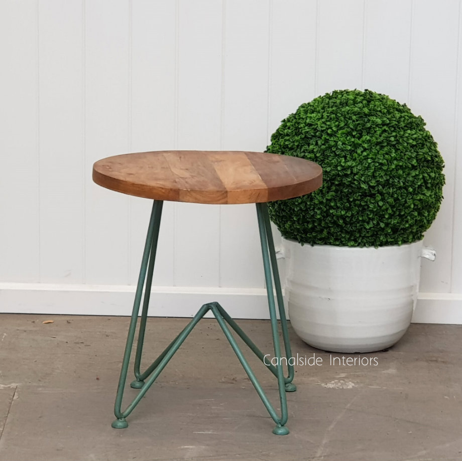 Camilla Low Stool Side Table Distressed Sage  INDUSTRIAL RUSTIC Style, CHAIRS, CAFE FURNITURE, TABLES, CHAIRS Stools, TABLES Side Tables, LIVING Coffee & Side Tables, CAFE FURNITURE Stools & Chairs, PLANTATION STYLE