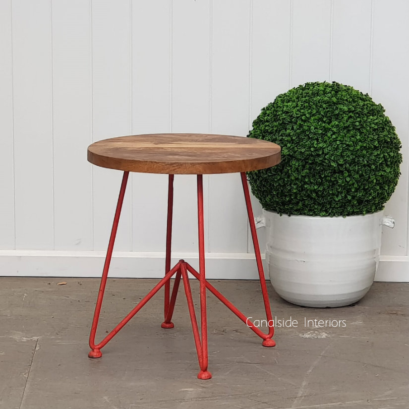 Camilla Low Stool Side Table Distressed Red  INDUSTRIAL RUSTIC Style, CHAIRS, CAFE FURNITURE, TABLES, CHAIRS Stools, TABLES Side Tables, LIVING Coffee & Side Tables, CAFE FURNITURE Stools & Chairs, PLANTATION STYLE