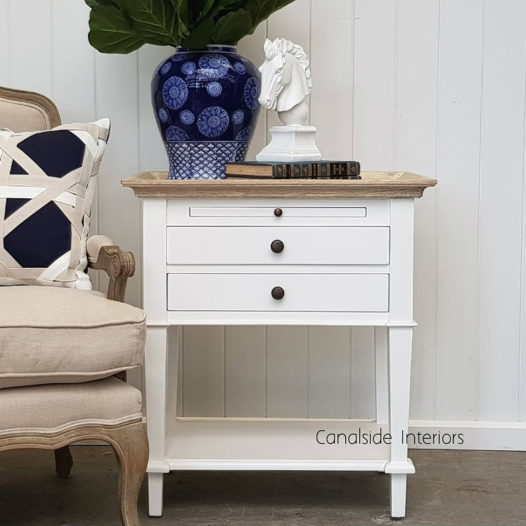 Butler Side Table Bedside White with Limewash Top BEDROOM, TABLES Side Tables, LIVING Coffee & Side Tables, BEDROOM Bedsides