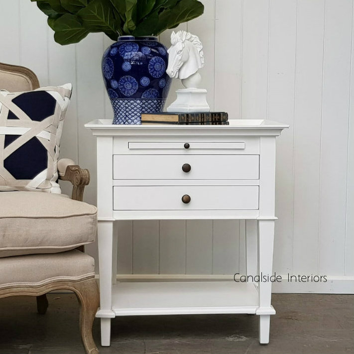 Butler Side Table Bedside White  TABLES, TABLES Side Tables, LIVING Coffee & Side Tables, BEDROOM Bedsides