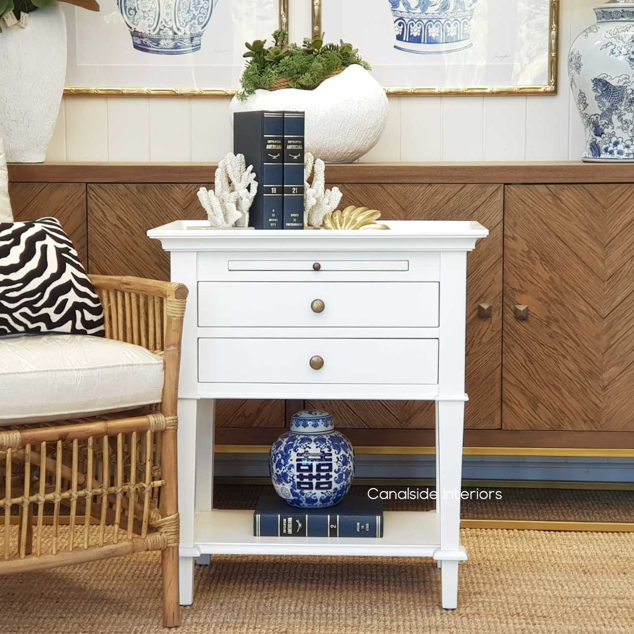 Picture of: Butler Side Table Bedside White Canalside Interiors