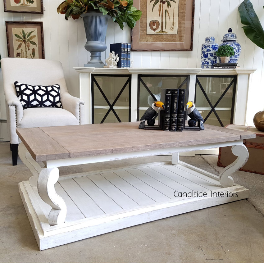 Austen Coffee Table Distressed Stone with Weathered Oak Top  TABLES, HAMPTONS Style, PLANTATION Style, TABLES Coffee Tables, LIVING Room, LIVING Coffee & Side Tables