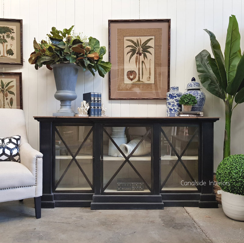 Middleton Glass Sideboard Distressed Charcoal Weathered Oak Top  HAMPTONS Style, PLANTATION Style, LIVING Room, LIVING TV Media & Storage, TABLES Sideboards & Buffets, STORAGE, STORAGE Sideboards & Buffets, PLANTATION STYLE