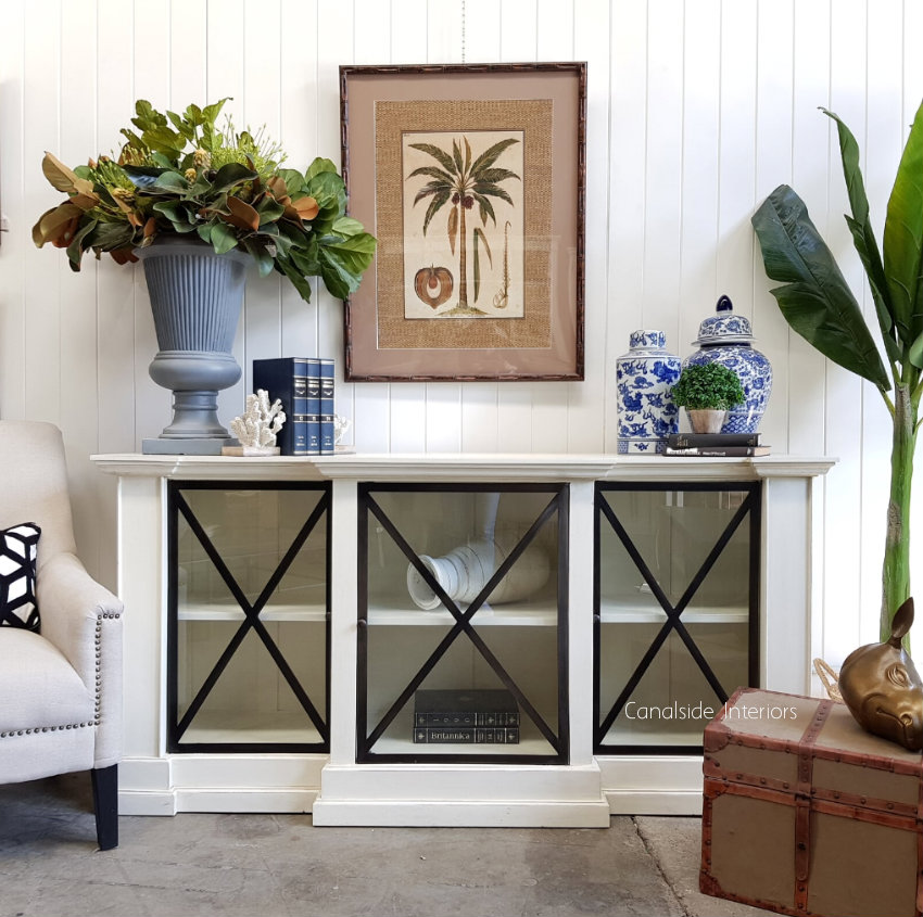 Middleton Glass Sideboard Distressed off white  HAMPTONS Style, PLANTATION Style, LIVING Room, LIVING TV Media & Storage, TABLES Sideboards & Buffets, STORAGE, STORAGE Sideboards & Buffets, PLANTATION STYLE