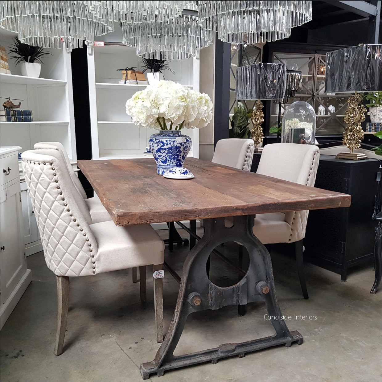 Protractor Omega Dining Table with reclaimed wood top