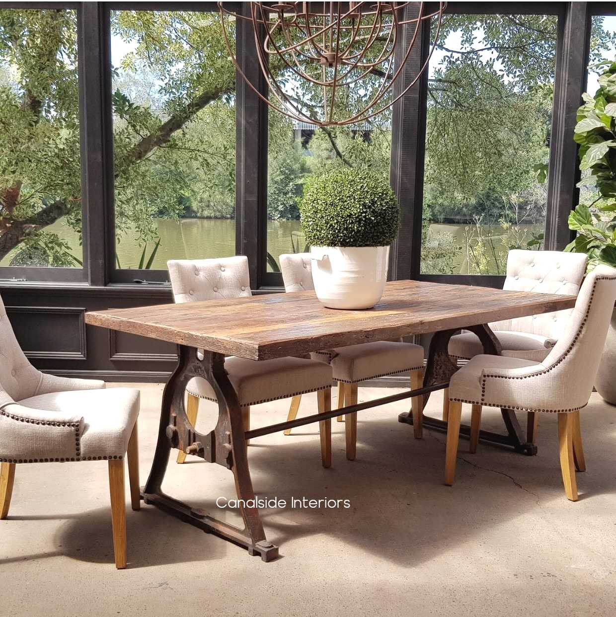 Protractor Omega Dining Table with reclaimed wood top Canalside Interiors