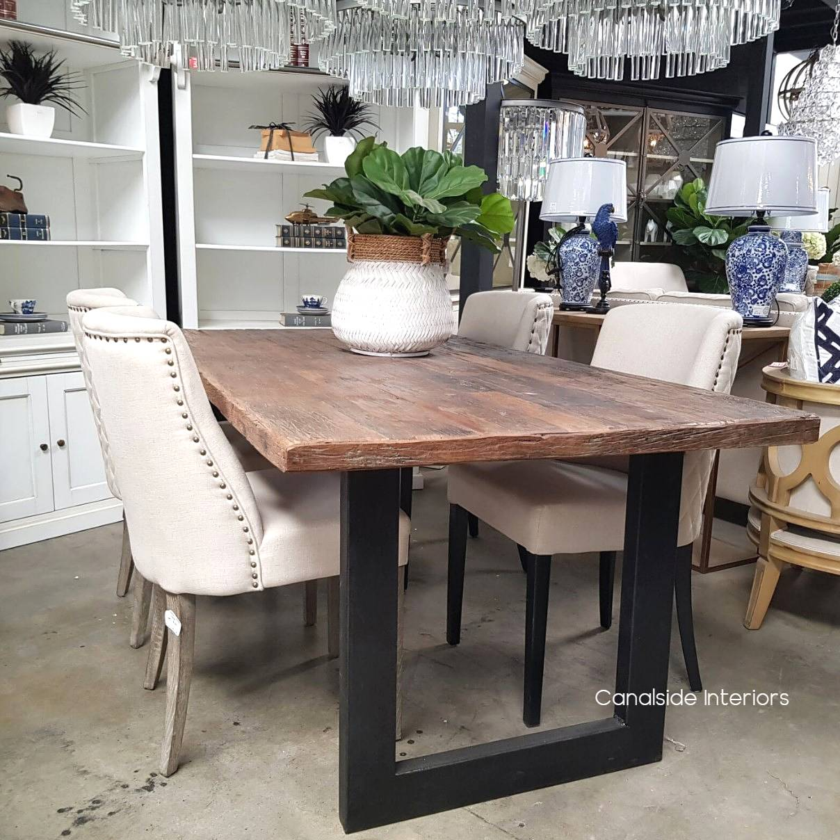 Washington Dining Table Reclaimed Wood Top Canalside Interiors