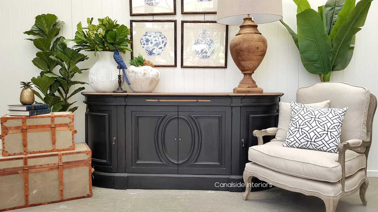 Bastian Large Sideboard - Distressed Charcoal/Weathered Oak - Sold Out - More Coming Soon