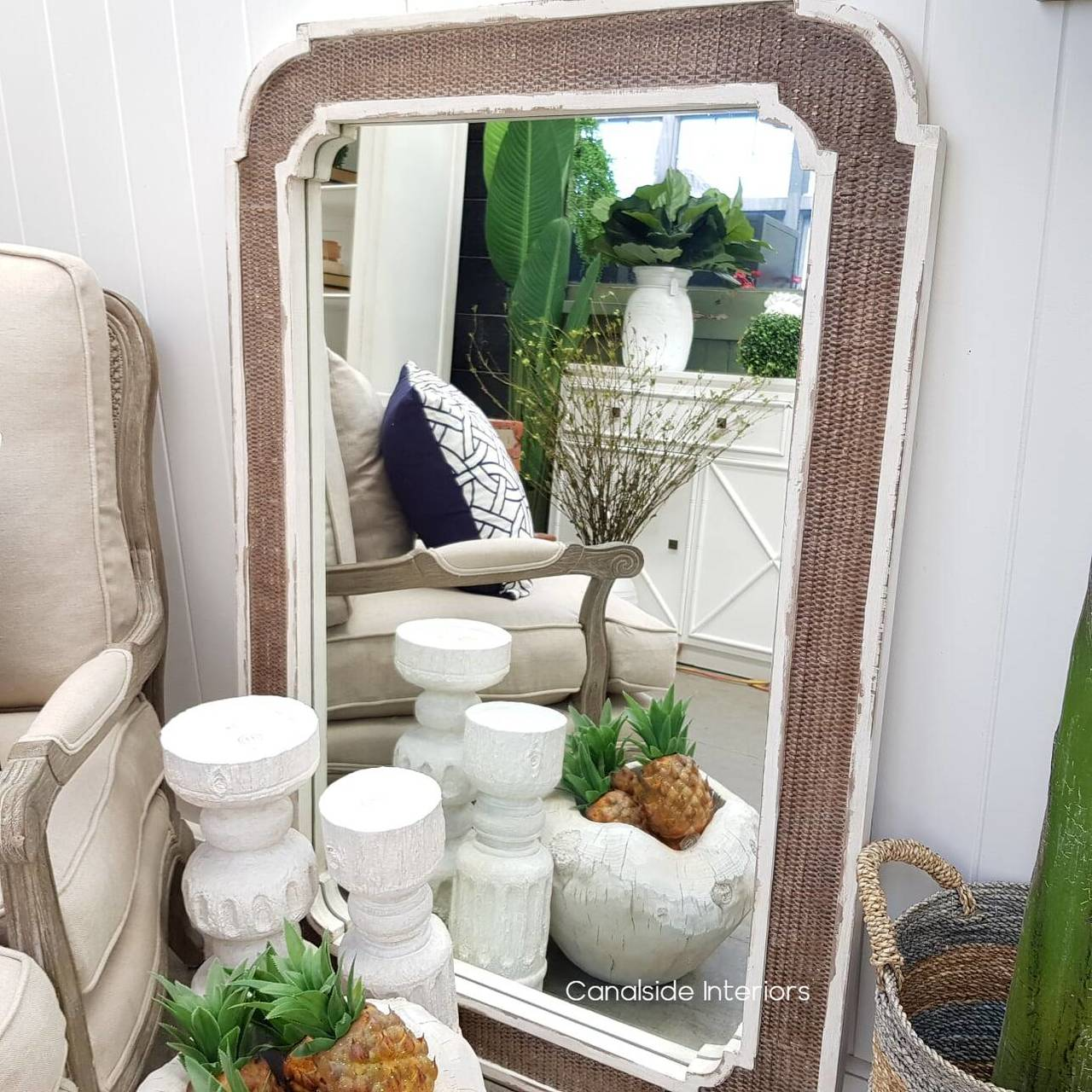 Brielle Rattan Carved Mirror