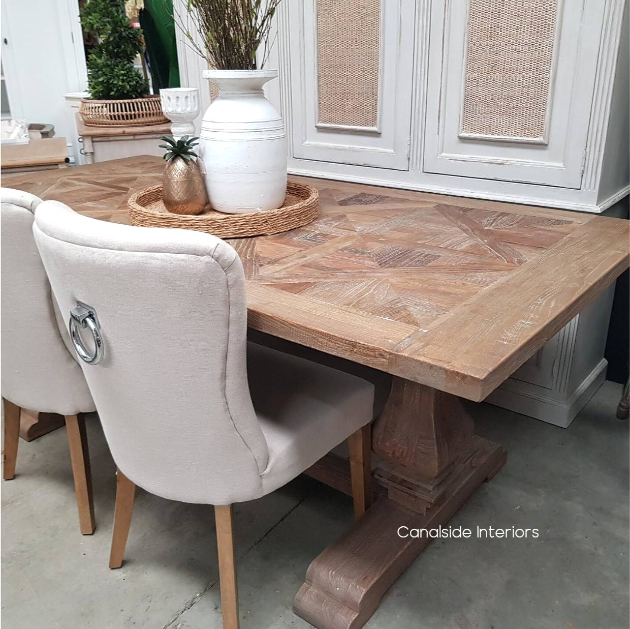 Artisan Rustic Parquetry Top Dining Table
