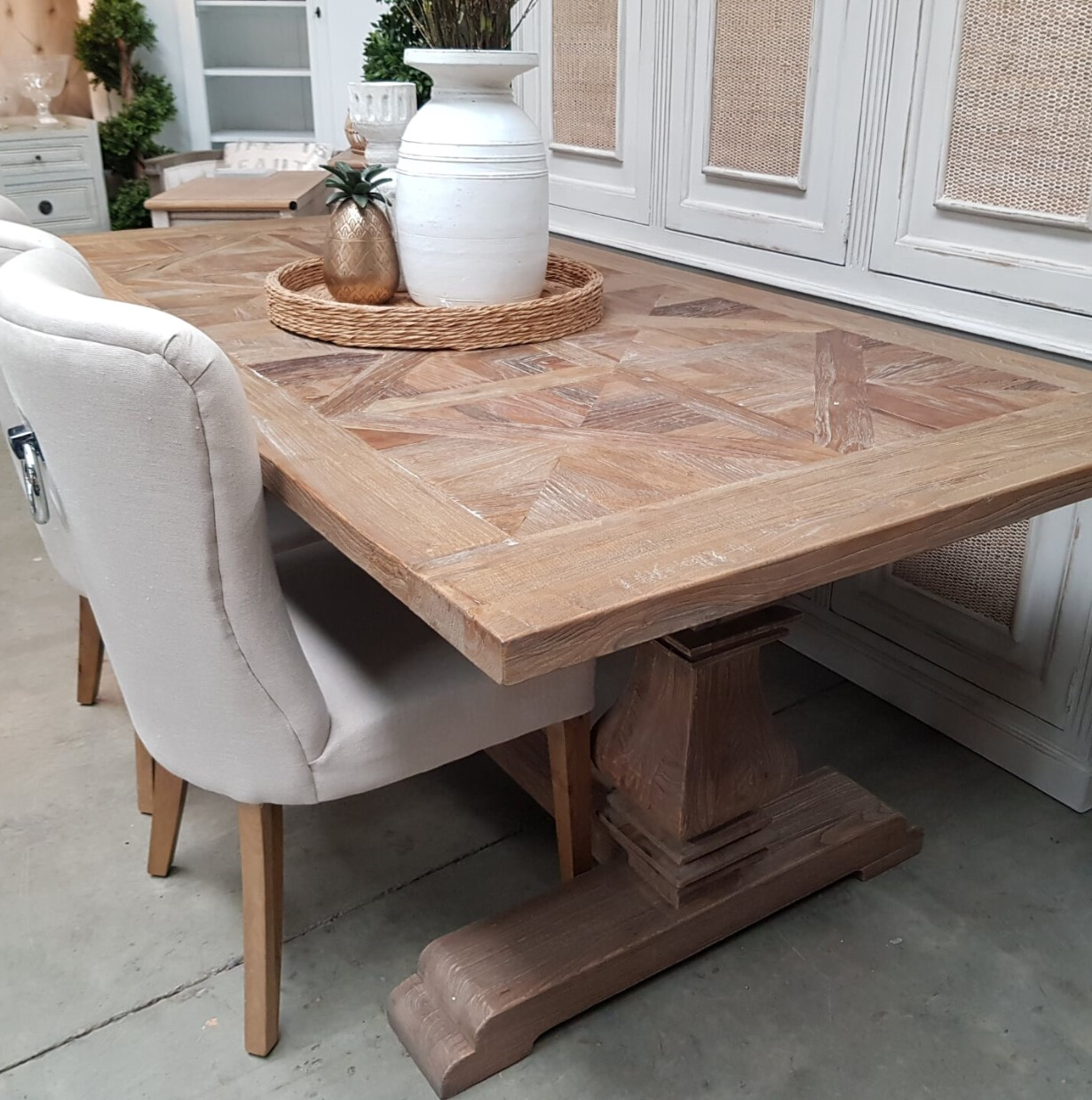 *Artisan Rustic Parquetry Top Dining Table - 2 SIZES - IN STOCK