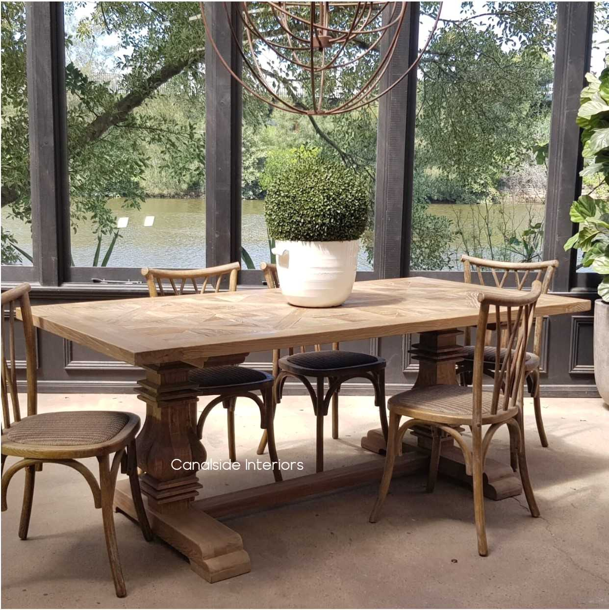 Artisan Rustic Parquetry Hamptons Dining Table