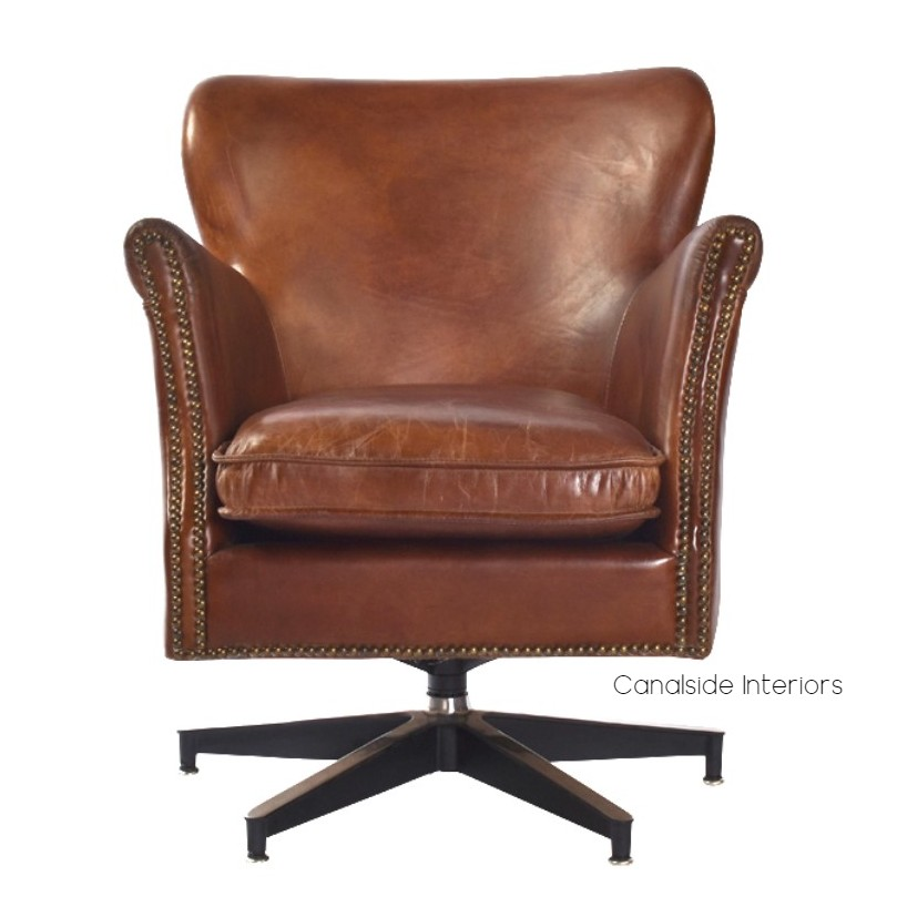 Irvine Swivel Aged Leather Armchair