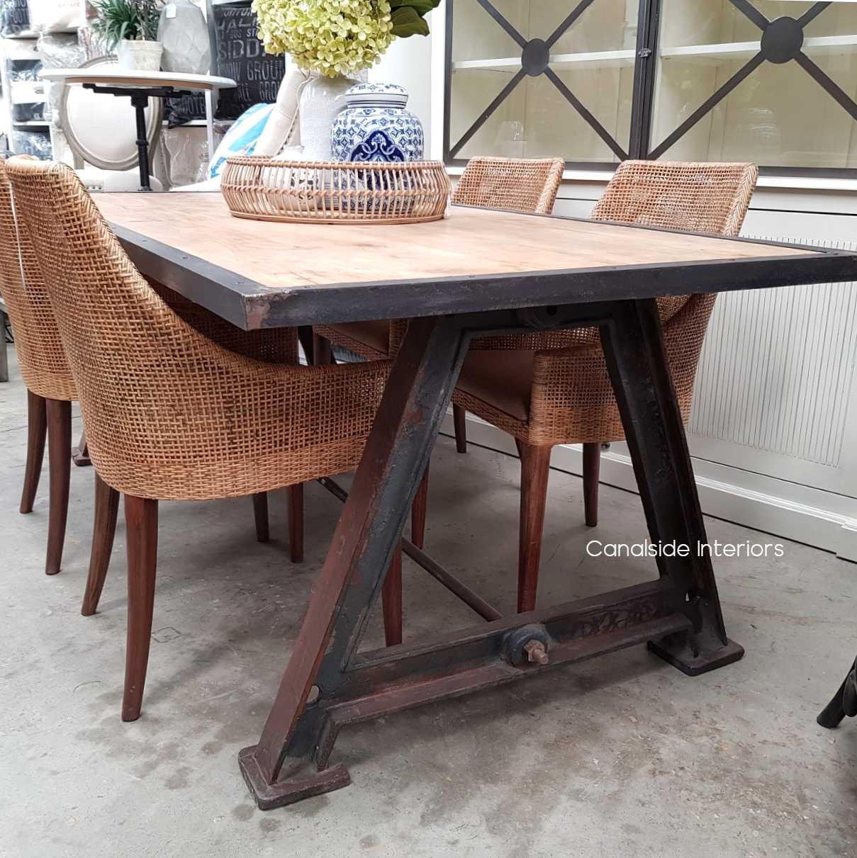 Protractor Industrial Dining Table with Metal Border Top