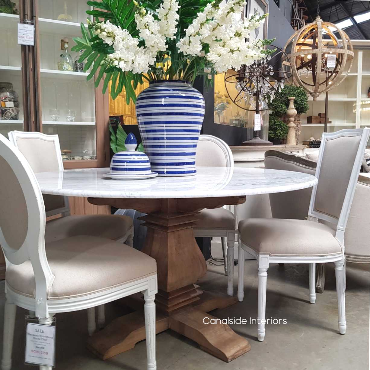 Picture of: Artisan Round Marble Dining Table In Stock Canalside Interiors