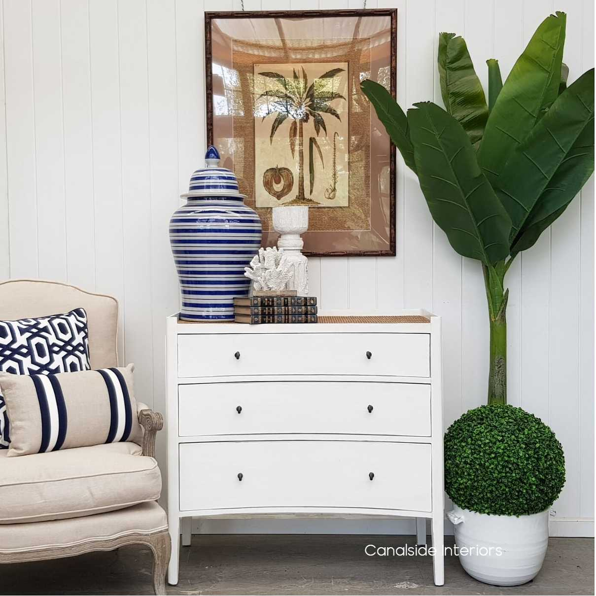 Tweed Hill Rattan Concave Chest Distressed White  BEDROOM, BEDROOM Chests & Commodes, STORAGE, STORAGE Sideboards & Buffets, PLANTATION STYLE