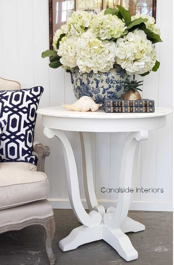Downton Round Hall Table Side Table Distressed White  FRENCH  FURNITURE, TABLES, HAMPTONS Style, PLANTATION Style, TABLES Side Tables, LIVING Room, LIVING Coffee & Side Tables, PLANTATION STYLE