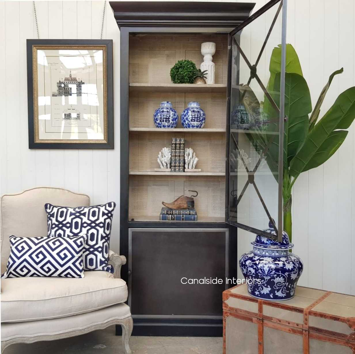 Pavilion Single Door Display Unit Distressed Charcoal  HAMPTONS Style, PLANTATION Style, LIVING Room, LIVING Cupboards & Bookcases, STORAGE, STORAGE Bookshelves & Cupboards