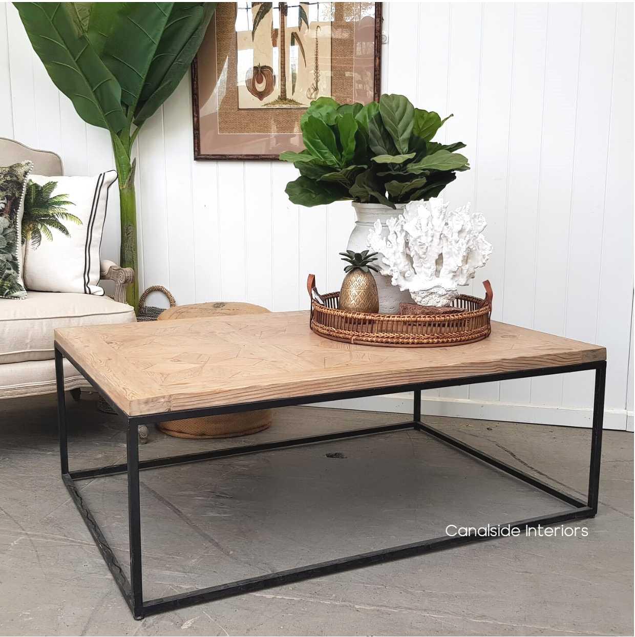 - Sandor Parquetry Coffee Table Rustic Limewash - Canalside Interiors