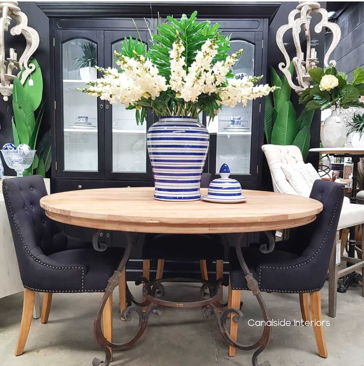 Santiago Round Dining Table with Reclaimed Wood Top