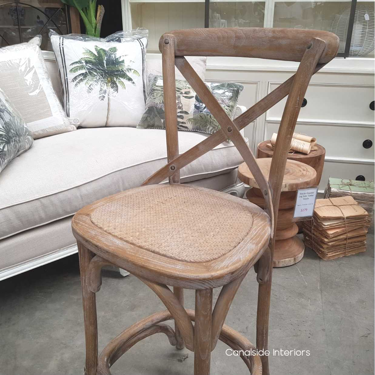 *Cross Back Kitchen Stool (65cm seat height) - Oatmeal - IN STOCK