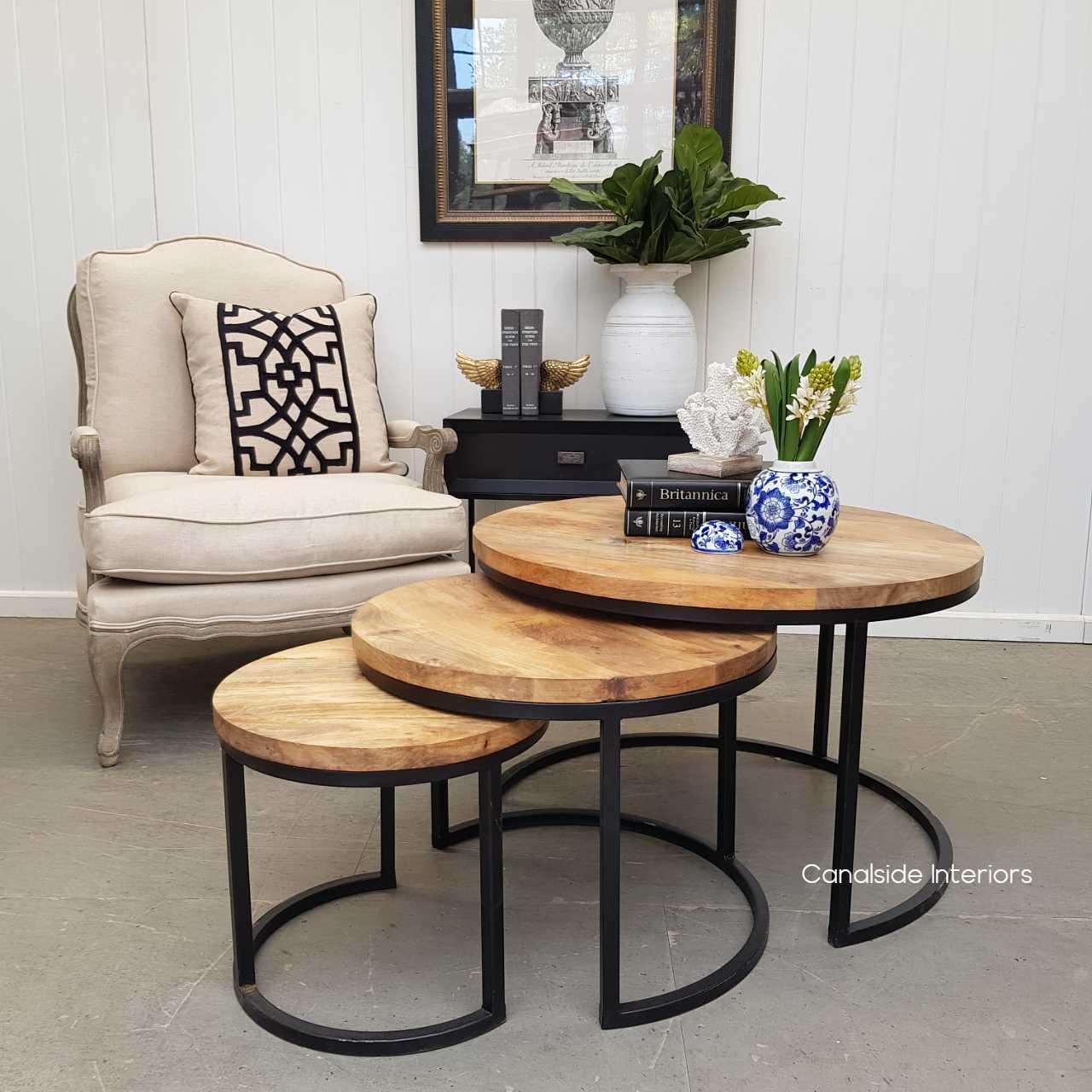 Oak Island 3 Piece Nesting Coffeeside Tables Canalside Interiors