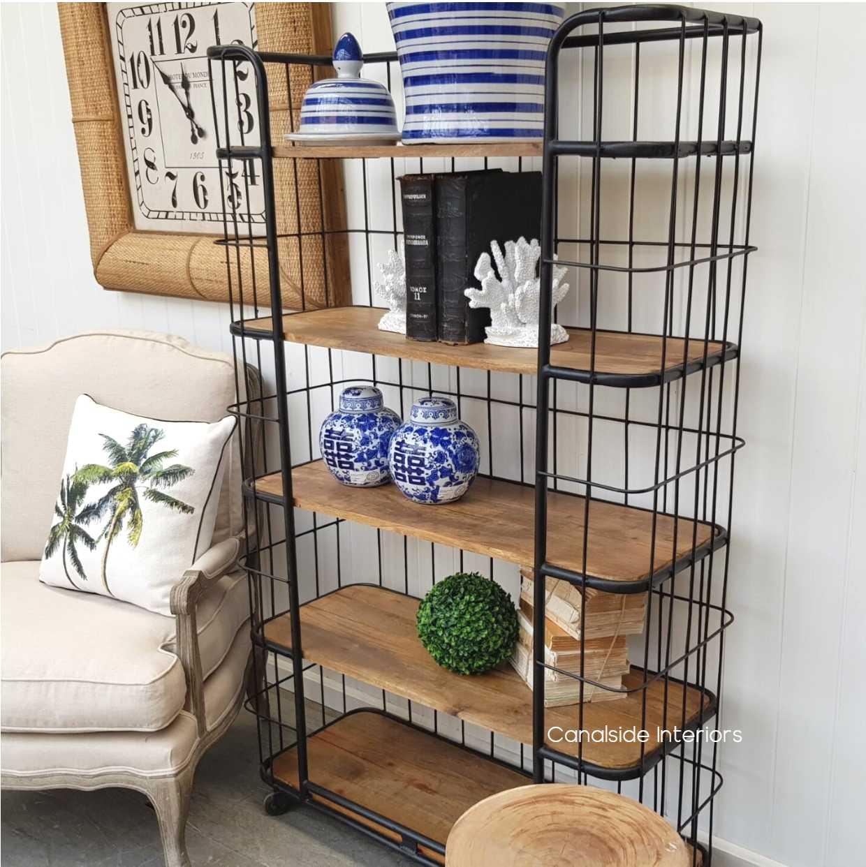 Caged Baker's Rack Distressed Black  INDUSTRIAL RUSTIC Style, CAFE FURNITURE, LIVING Room, LIVING Cupboards & Bookcases, CAFE FURNITURE Storage, STORAGE, STORAGE Bookshelves & Cupboards