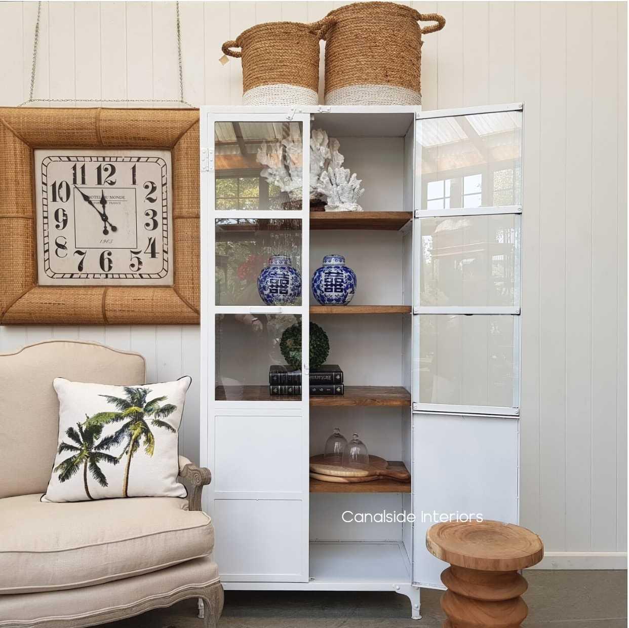 Foundry Almira 2 Door Metal Cupboard Distressed White  INDUSTRIAL RUSTIC Style, CAFE FURNITURE, LIVING Room, LIVING TV Media & Storage, LIVING Cupboards & Bookcases, CAFE FURNITURE Storage, STORAGE, STORAGE Bookshelves & Cupboards