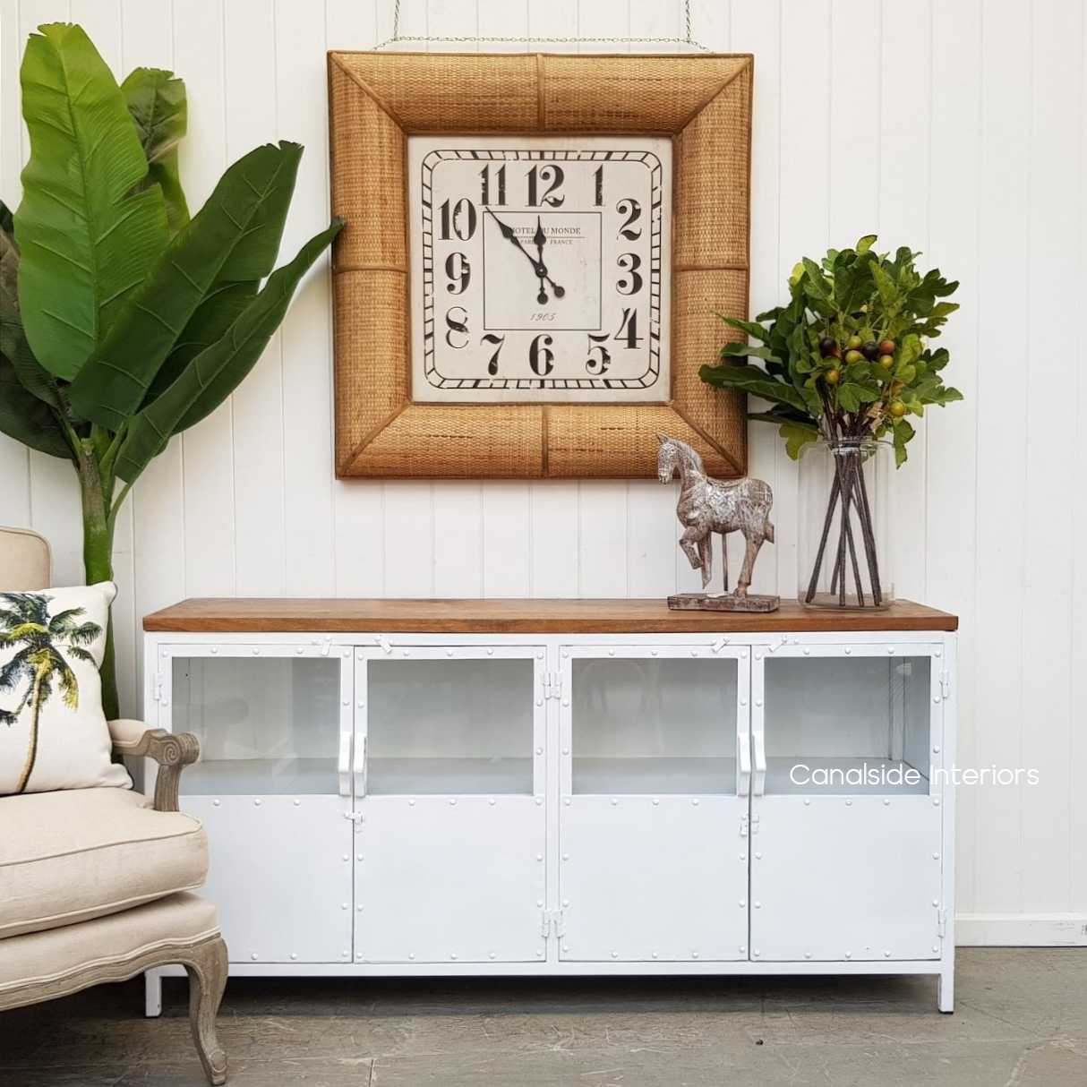 Foundry 4 Door TV Sideboard with Wooden Top White  INDUSTRIAL RUSTIC Style, CAFE FURNITURE, LIVING Room, LIVING TV Media & Storage, CAFE FURNITURE Storage, TABLES Sideboards & Buffets, STORAGE, STORAGE Sideboards & Buffets