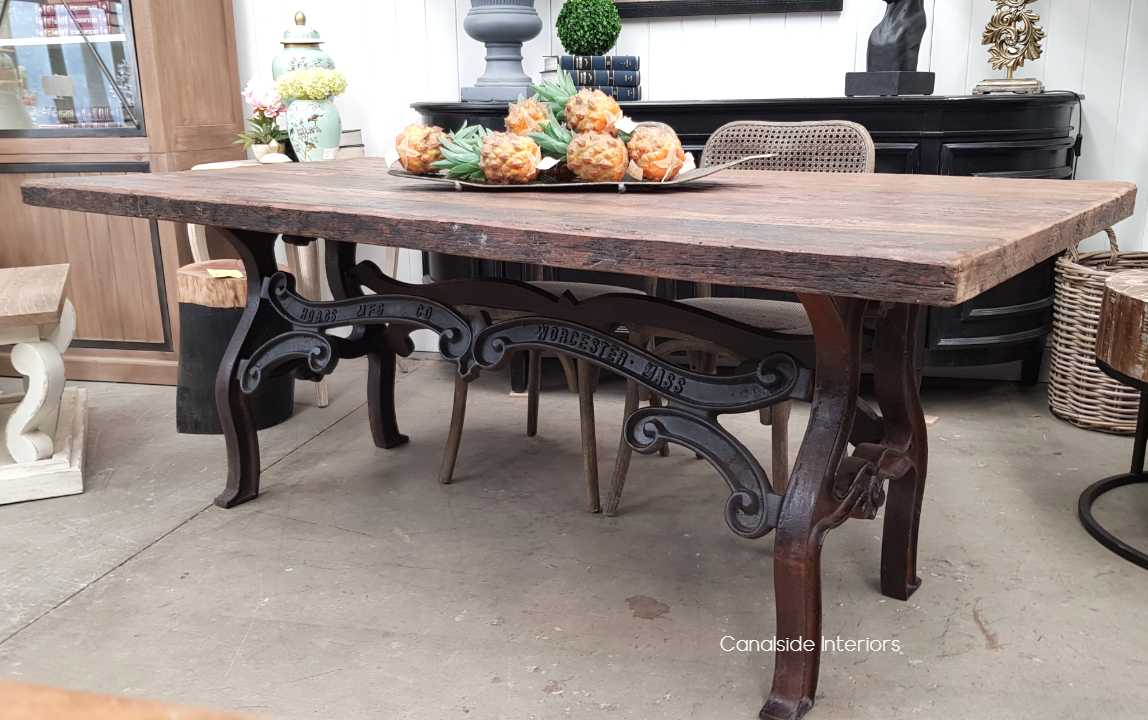 Hobbs Industrial Dining Table with Reclaimed Wood Top  INDUSTRIAL RUSTIC Style, CAFE FURNITURE, TABLES, TABLES Dining Tables, STORAGE Consoles & Desks, CAFE FURNITURE Table Tops & Tables