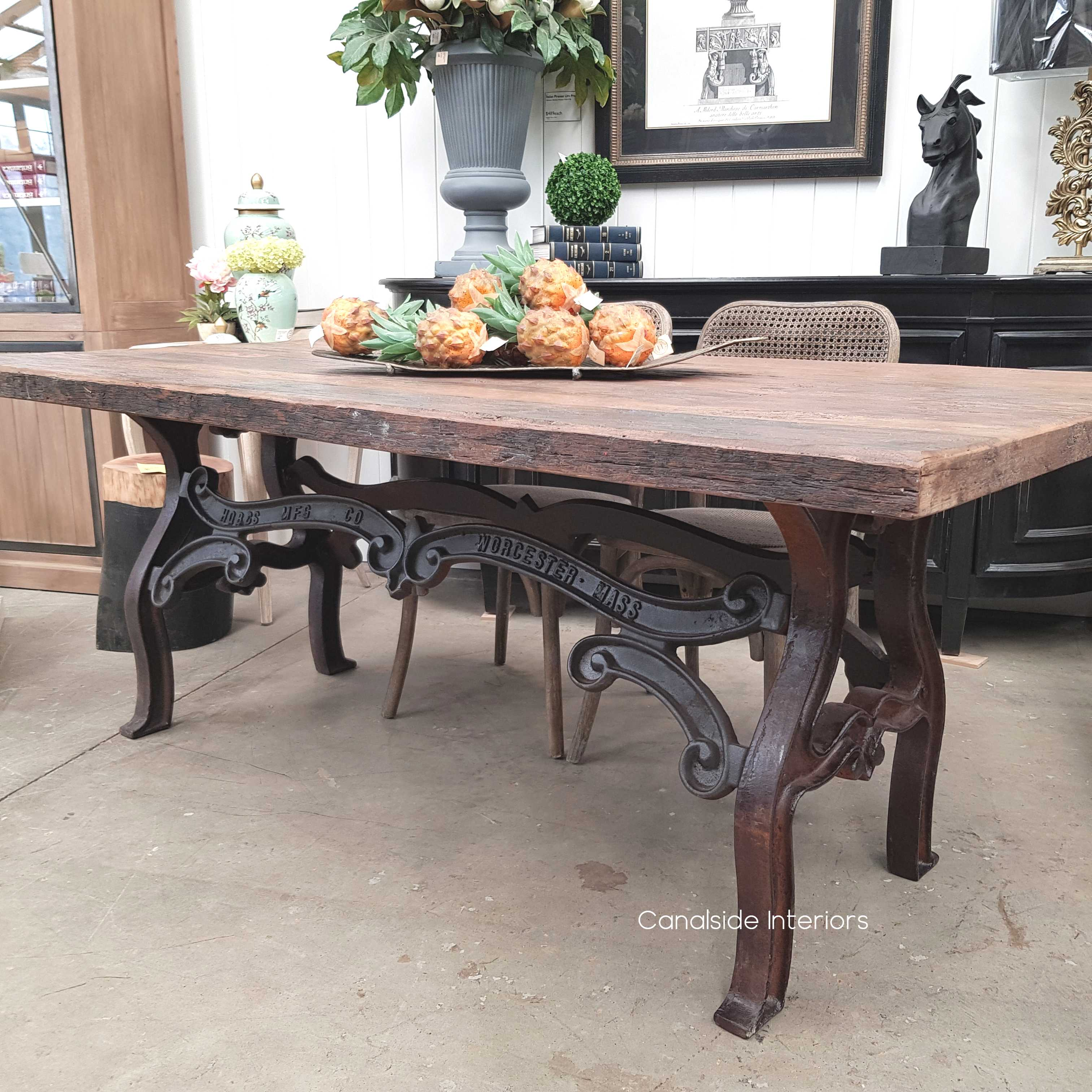 Hobbs Industrial Dining Table With Reclaimed Wood Top Canalside
