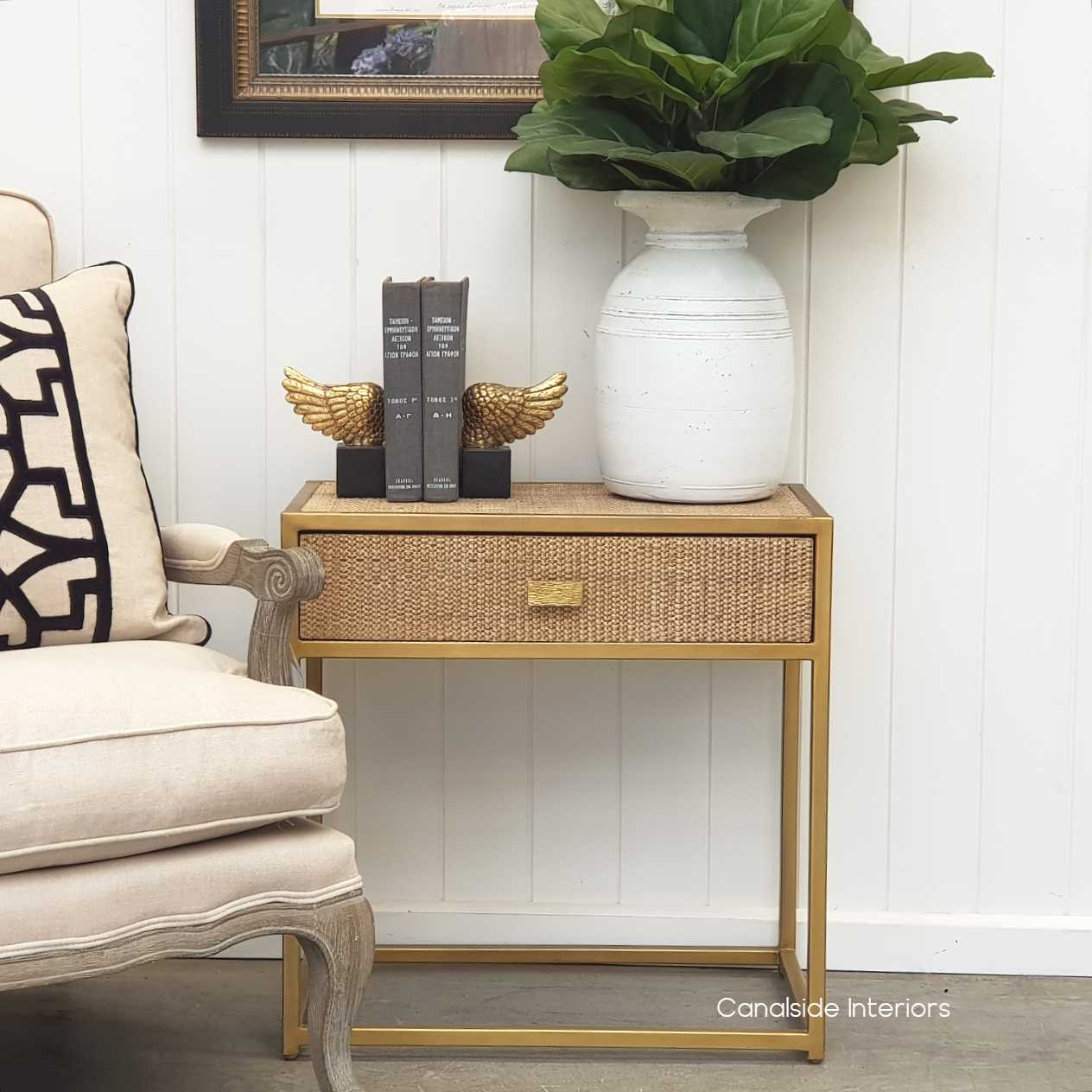 Connor Side Table Gold With Rattan Canalside Interiors